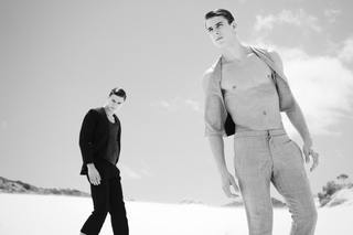 CHAOS MAGAZINE - Every grain go sand Photographer: Maria Dominika Styling: Ruan Swart Hair & Makeup: Esther Doeppes Model: Alessandro Hasni & Nicolas Hansi @ Kult Models